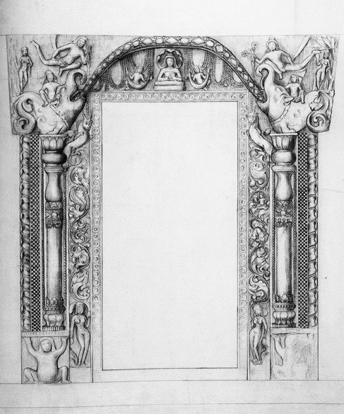 Ajanta Cave 6, shrine door artwork, lower storey, 1878 sketch 2