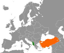Map indicating locations of Albania and Turkey