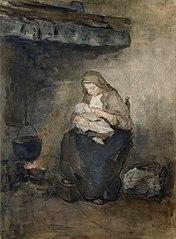 Moeder zoogt haar kind bij de haard