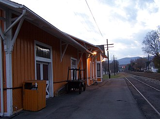 National Register of Historic Places listings in Greenbrier County, West Virginia - Image: Alderson WV Depot Trackside