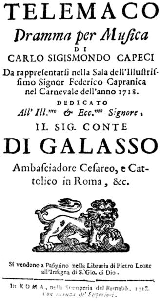 Telemaco (Scarlatti) - Title page of the libretto