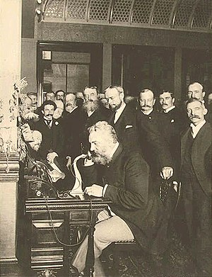 Science and technology in the United States - Alexander Graham Bell placing the first New York to Chicago telephone call in 1892