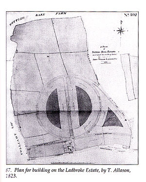 "Notting Hill - Thomas Allason's 1823 plan for the development of the Ladbroke Estate, consisting of a large central circus with radiating streets and garden squares, or ""paddocks""."