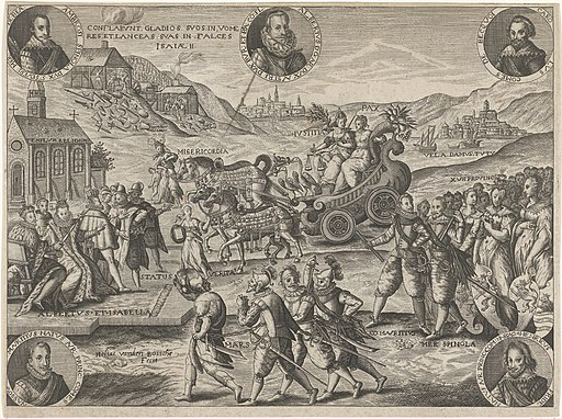 Allegorie op het Bestand en de vereniging der partijen, 1609, RP-P-BI-4189