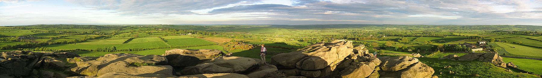 Panorama from the top of Almscliffe Crag