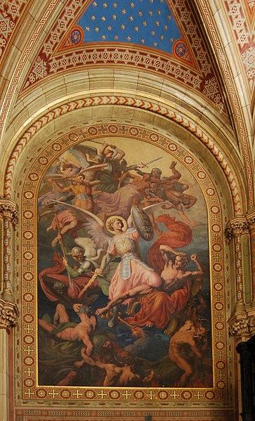 File:Altlerchenfelder Pfarrkirche - Fresko seitlich an der Orgelempore (Engelssturz) 02.jpg