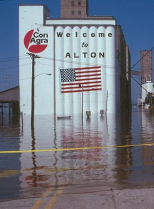 Great Flood of 1993 - Water encroaching on the City of Alton, Illinois