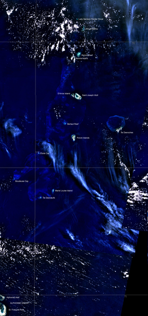 Amirante Islands - Satellite Image Map, with neighbouring Alphonse Group in the lower left