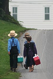 Amish - On the way to school by Gadjoboy-crop
