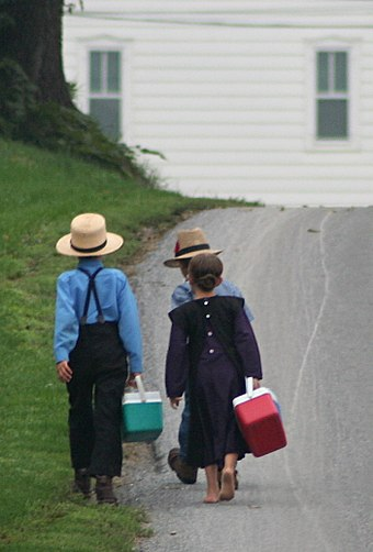 Amish children on the way to school. Amish - On the way to school by Gadjoboy-crop.jpg