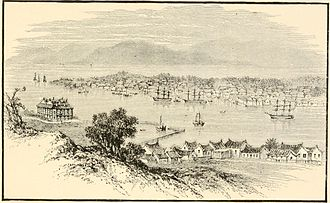 Coolie - Illustration of the port of Amoy, where many Chinese labourers were shipped to foreign lands, by Edwin Joshua Dukes.