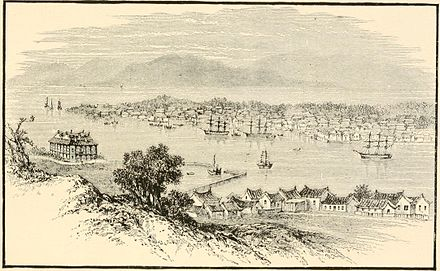 Illustration of the port of Amoy, where many Chinese labourers were shipped to foreign lands, by Edwin Joshua Dukes.