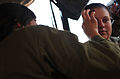 An Israeli soldier, left, applies makeup to a U.S. Army sergeant for the sergeant's role in a medical exercise during Austere Challenge 2012 in Israel 121022-F-QW942-010.jpg
