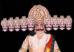 A Ramlila actor wears the traditional attire o...