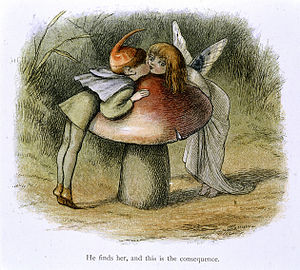 Richard Doyle (illustrator) - Image: An elf and a fairy kissing In Fairy Land (1870) BL