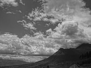 Imbabura Province - Imbabura Volcano photographed in black and white.