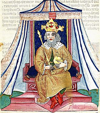 Andrew I of Hungary - Andrew I on the throne (Thuróczi's Chronicle)