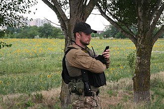 Azov Battalion - Andriy Biletsky leads units of the battalion on a patrol near Mariupol in July 2014.