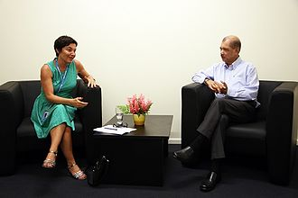 Annick Girardin - Annick Girardin and the Seychelles President James Michel in 2014