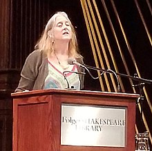 Annie Finch reading at Folger Theatre, Washington, DC, 2019