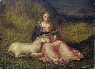 Jeune femme avec une licorne