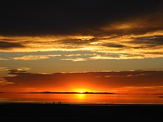 Great Salt Lake - Sunset viewed from White Rock Bay, on the western shore of Antelope Island. Carrington Island is visible in the distance.