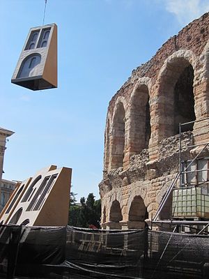 Arena di Verona Festival - Scenery for NABUCCO being loaded into the Arena, 2011