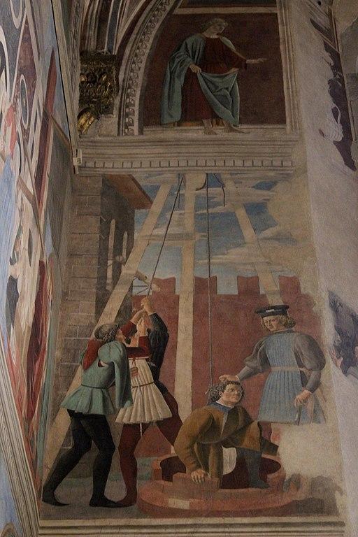 Piero della Francesca, Le Storie della Vera Croce, Tortura dell'ebreo, Basilica di San Francesco, Arezzo