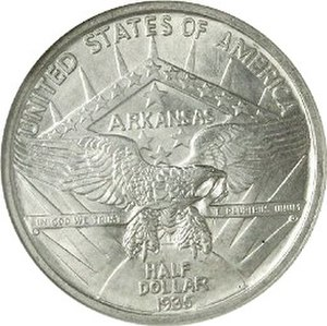 Arkansas Centennial half dollar - Reverse