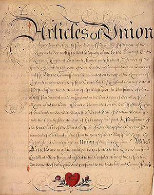 Representative peer - Act of Union 1707 was ratified in Scotland on 16 January 1707, and by the English Parliament on 19 March 1707