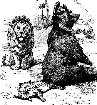 "Iran–United Kingdom relations - Caption from a 1911 English satirical magazine reads: ""If we hadn't a thorough understanding, I (British lion) might almost be tempted to ask what you (Russian bear) are doing there with our little playfellow (Persian cat)."""