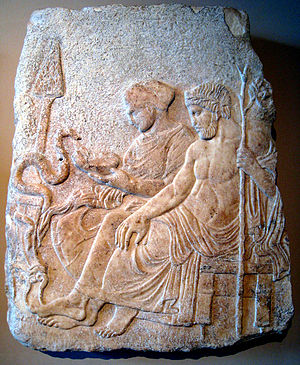 Asclepius - Asclepios with his daughter Hygieia