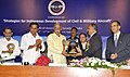 Ashok Gajapathi Raju Pusapati being presented a memento, at the inauguration of the Conference on Strategies for Indigenous Development of Civil & Military Aircraft, as part of the 65th AGM of AeSI.jpg