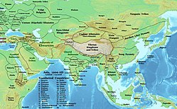Map of Asia in 1200 CE. Chandela kingdom is shown in central India.