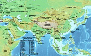 Chandela - Map of Asia in 1200 CE. Chandela kingdom is shown in central India.
