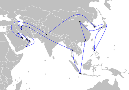 Route of the torch relay. Asian Games Torch Relay route.png