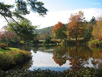 Asticou Azalea Garden - An October 2003 view across Asticou Pond to Peabody Drive.