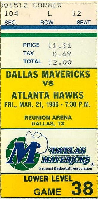 1985–86 NBA season - A ticket for a March 1986 game between the Atlanta Hawks and the Dallas Mavericks.