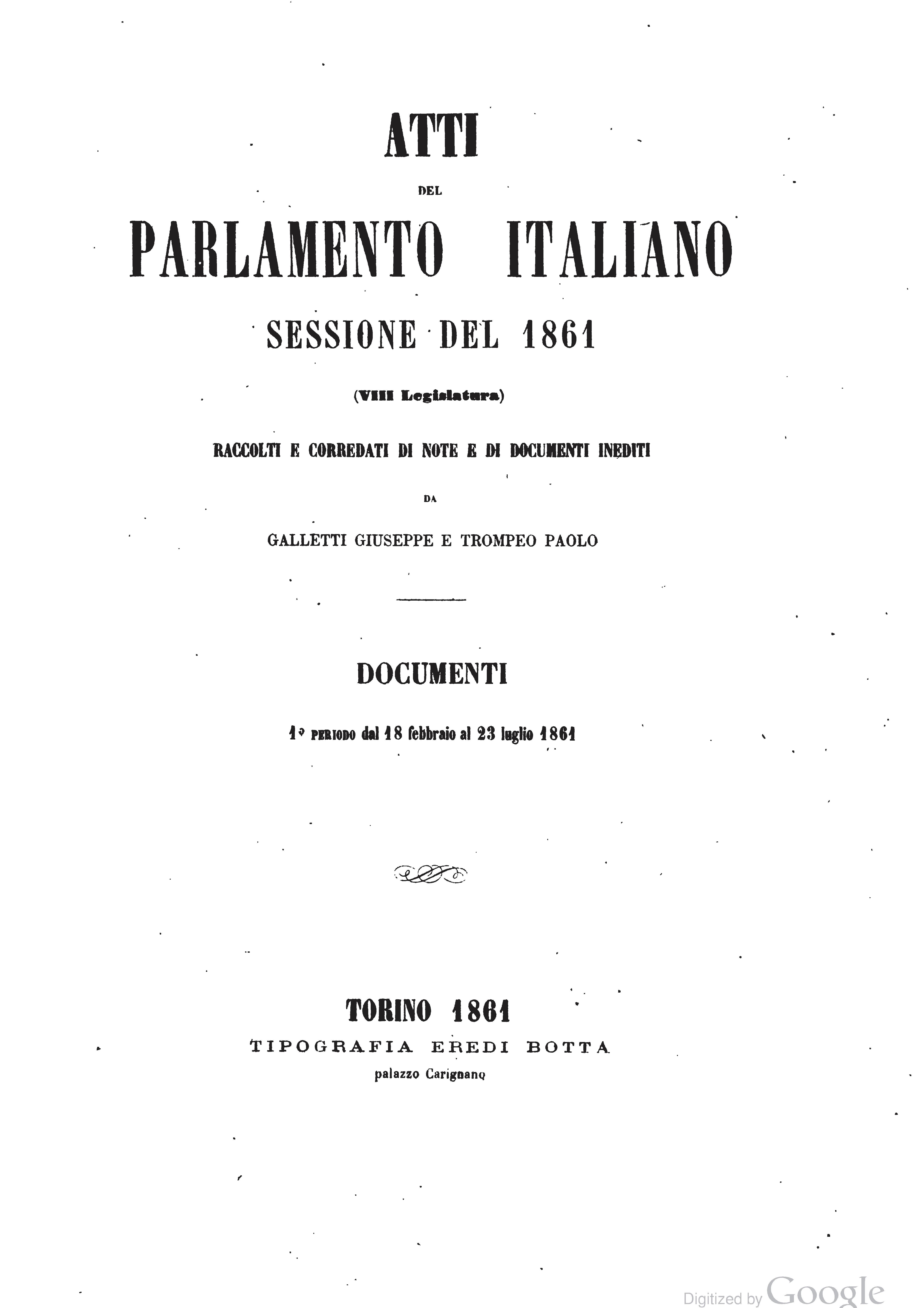 Pagina atti del parlamento italiano 1861 djvu 1 wikisource for Il parlamento italiano wikipedia