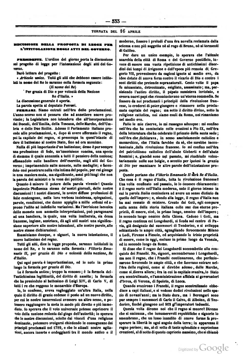 Pagina atti del parlamento italiano 1861 djvu 15 for Il parlamento italiano wikipedia