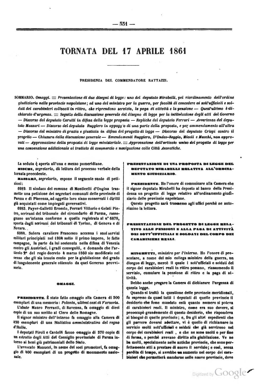 Pagina atti del parlamento italiano 1861 djvu 33 for Il parlamento italiano wikipedia