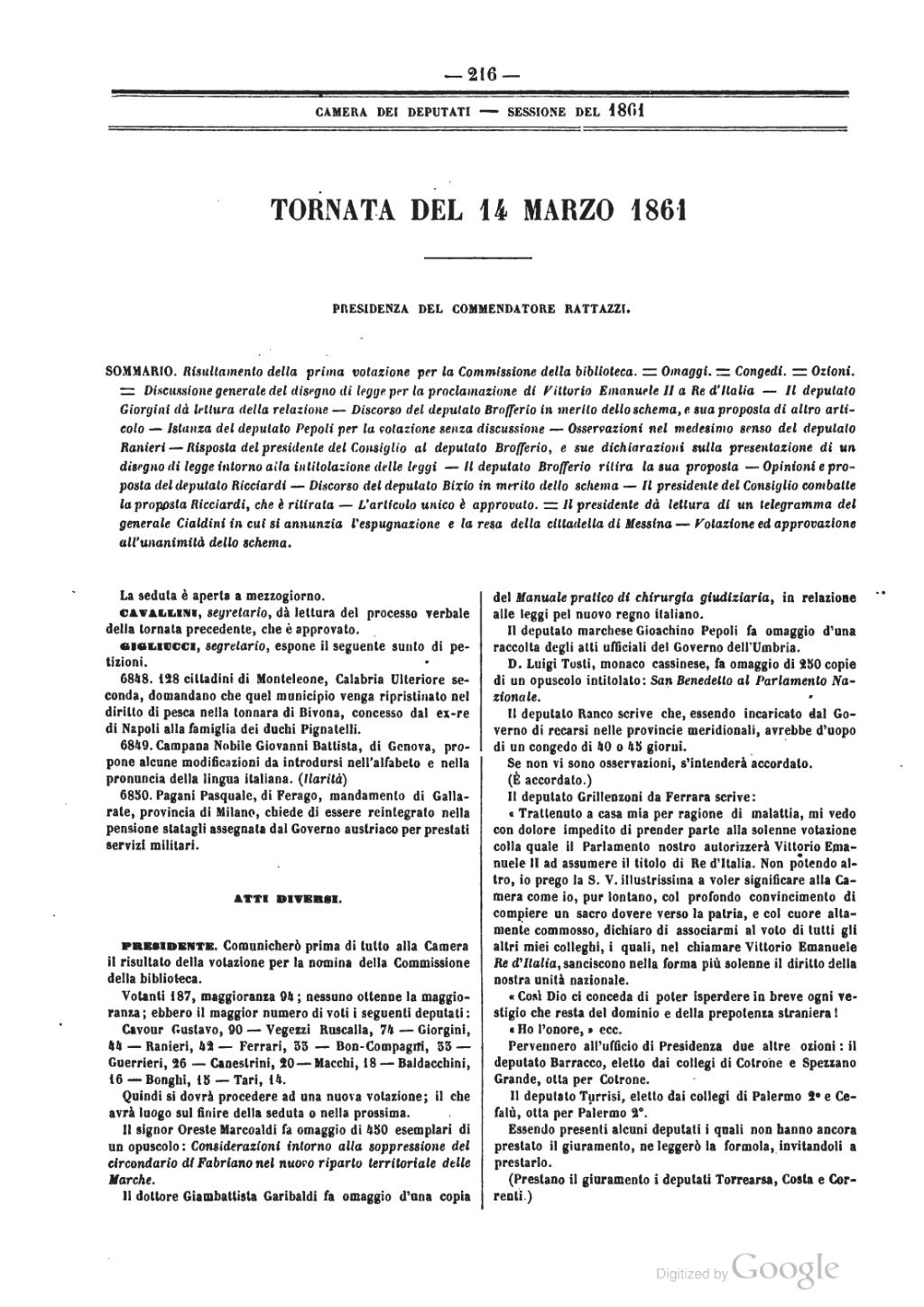 Pagina atti del parlamento italiano 1861 djvu 8 wikisource for Il parlamento italiano wikipedia