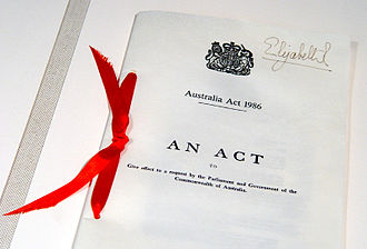 Monarchy of Australia - Australia Act 1986 (United Kingdom) document, located in Parliament House, Canberra, and bearing the signature of Elizabeth II as Queen of the United Kingdom