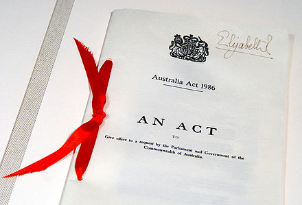 Australia Act 1986 (United Kingdom) document, located in Parliament House, Canberra, and bearing the signature of Elizabeth II as Queen of the United Kingdom Australia Act 1986.jpg
