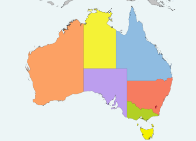 Australia map. Western Australia in the west third with capital Perth, Northern Territory in the north center with capital Darwin, Queensland in the northeast with capital Brisbane, South Australia in the south with capital Adelaide, New South Wales in the northern southeast with capital Sydney, and Victoria in the far southeast with capital Melbourne. Tasmania, with capital Hobart, is off the coast of Victoria, across the Bass Strait. The Indian Ocean is to the west and northwest, the South Pacific Ocean to the east, the Southern Ocean to the south, and the Tasman Sea to the southeast. The Great Australian Bight to the south and the Gulf of Carpentaria to the north are the major bays. The Timor and Arafura Seas are off the north coast, and the Great Barrier Reef guards the northeast coast from the Coral Sea.