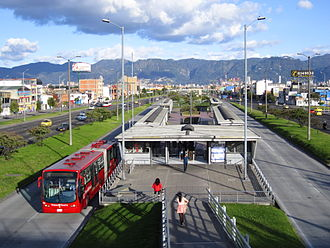 TransMilenio - TransMilenio bus at a station