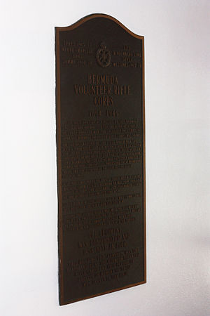 Bermuda Volunteer Rifle Corps - BVRC Plaque at The Armoury Building in Hamilton, Bermuda, commemorating the unit's service from 1894 to 1946, when it was reduced to a skeleton staff (which would be expanded to a full unit again in 1951, retitled the Bermuda Rifles).
