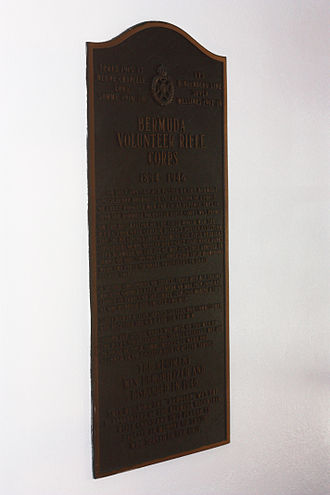 Bermuda Volunteer Rifle Corps - Plaque at Hamilton Armoury commemorating BVRC service from 1894 to 1946, when it was reduced to a skeleton staff (expanded to a full unit again in 1953, retitled the Bermuda Rifles).
