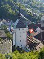 Baden Blick von der Ruine Stein auf den Stadtturm.JPG