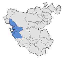 Location in the Province o Cádiz.